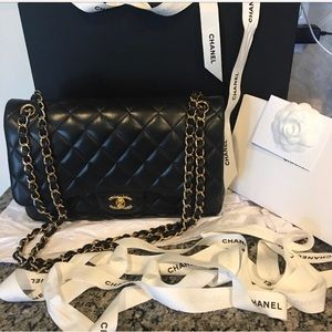 Chanel JUMBO Double Flap Bag Black Lambskin